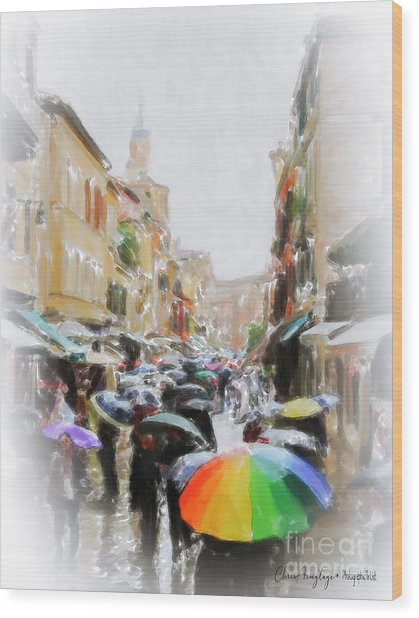 Venice In The Rain Wood Print