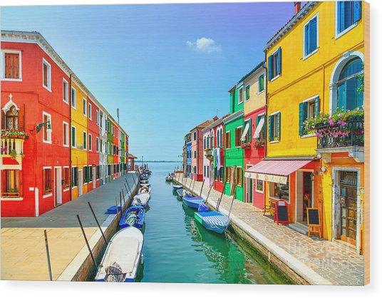 Venice Landmark, Burano Island Canal Wood Print