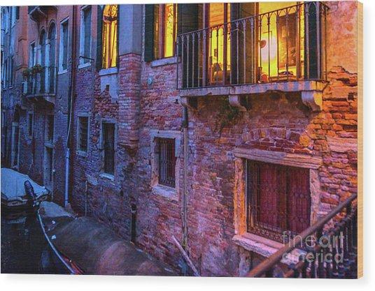 Venice Windows At Night Wood Print