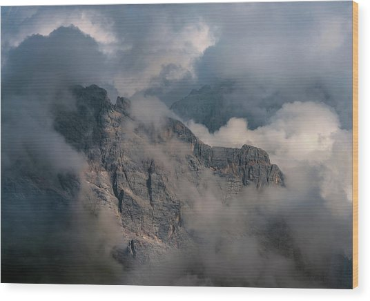 Very Cloudy Morning In Dolomites Wood Print