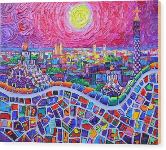 Vibrant Barcelona Night View From Park Guell Modern Impressionism Knife Painting Ana Maria Edulescu Wood Print