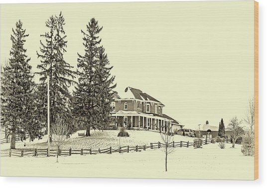 Victorian Farmhouse 2 Sepia Wood Print