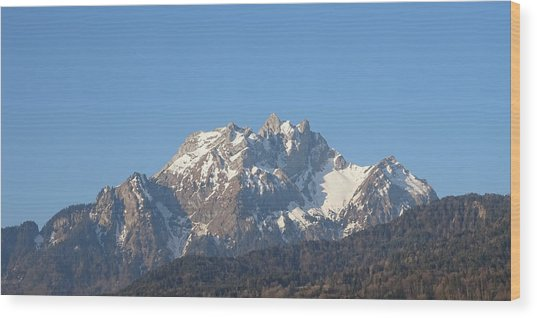 Wood Print featuring the photograph View From My Art Studio - Pilatus I - April 2019 by Manuel Sueess