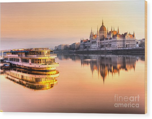 View Of Budapest Parliament At Sunrise Wood Print