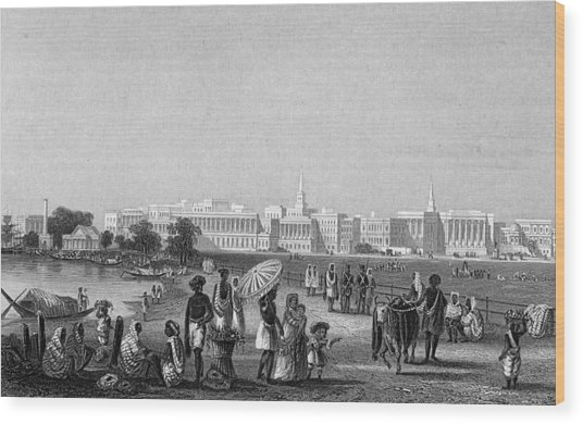 View Of Calcutta From The Esplanade Wood Print by Hulton Archive