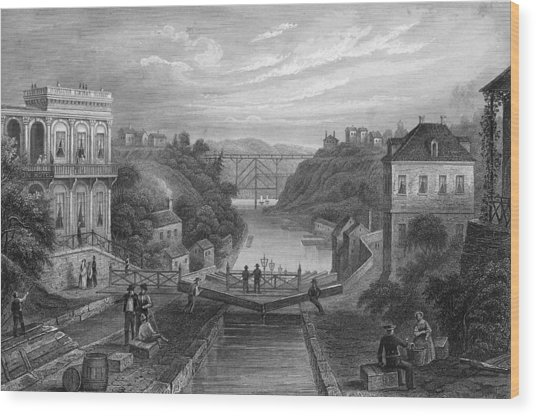 View Of Erie Canal Wood Print by Kean Collection