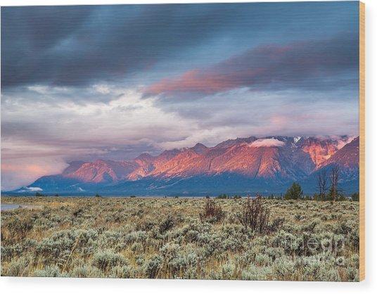 View Of Grand Teton Mountain Range At Wood Print by Victor Maschek