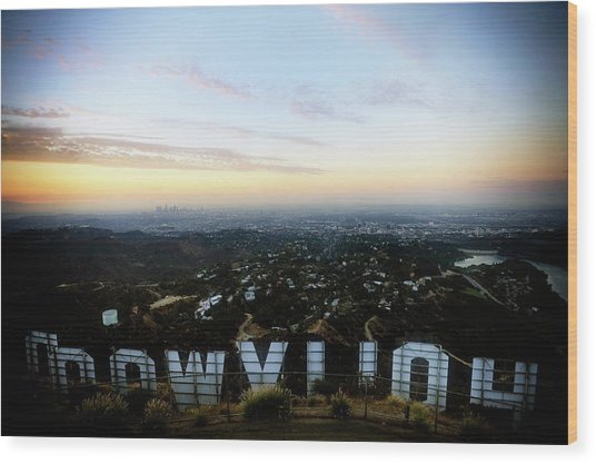 View Of La From Behind The Hollywood Wood Print