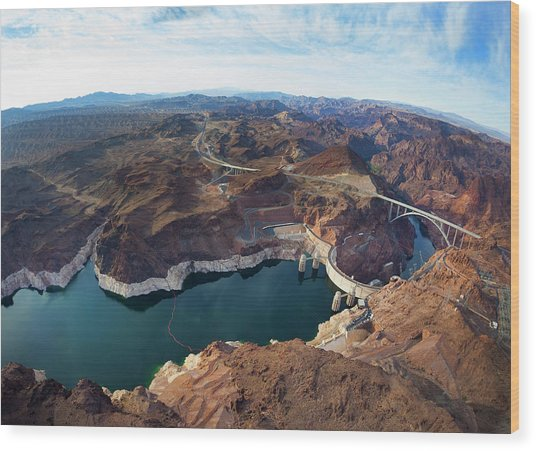 View Of Lake Mead And Hoover Dam Wood Print by Derek E. Rothchild