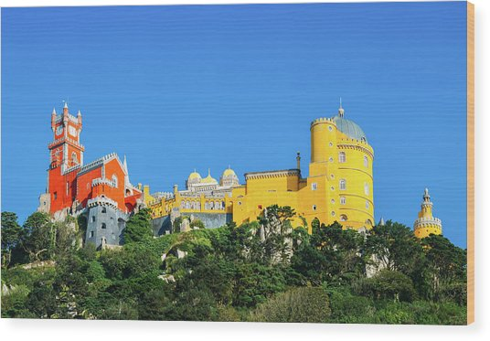 View Of Pena National Palace, Sintra, Portugal, Europe Wood Print