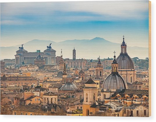 View Of Rome From Castel Santangelo Wood Print