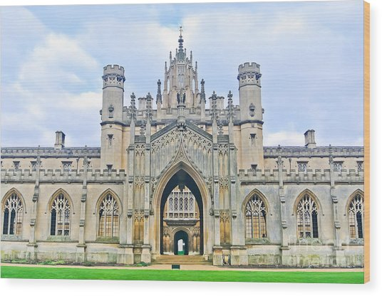 View Of St Johns College, University Of Wood Print by Javen