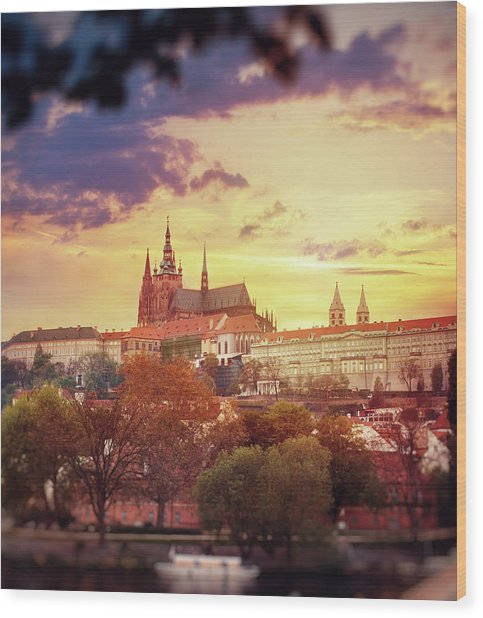 View Of St. Vitus Cathedral At Sunset Wood Print