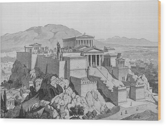 View Of The Acropolis Wood Print by Kean Collection