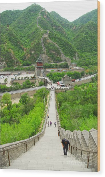 View Of The Great Wall Of China, In Wood Print