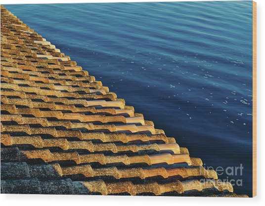 View Of The River From The Rooftop. Algarve Wood Print