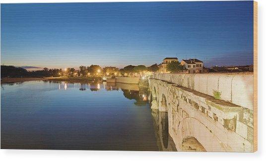 View Of Tiberio Bridge Wood Print by Maremagnum