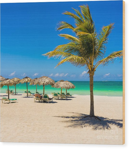 View Of Varadero Beach In Cuba With A Wood Print