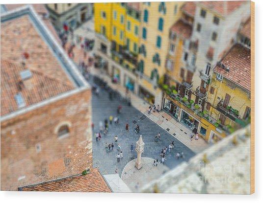 View Over Piazza Delle Erbe Markets Wood Print