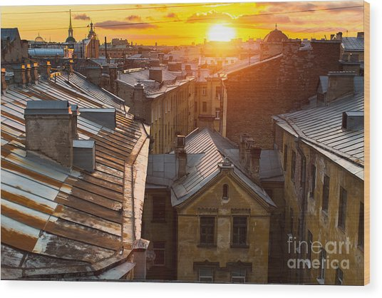 View Over The Rooftops Of The Historic Wood Print