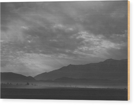 View Sw Over Manzanar, Dust Storm Wood Print by Buyenlarge
