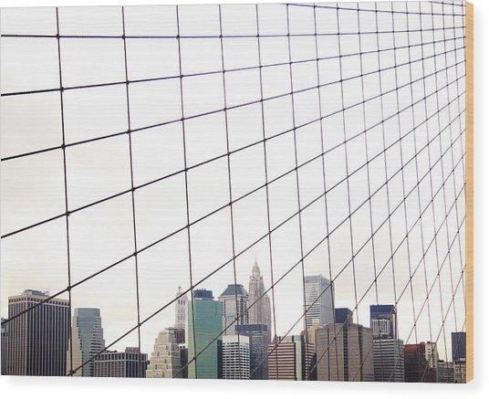 View To Nyc Through Brooklyn Bridge Wood Print by Thomas Northcut