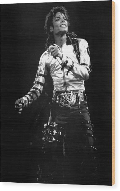 Views Of Michael Jackson Concert During Wood Print by New York Daily News Archive