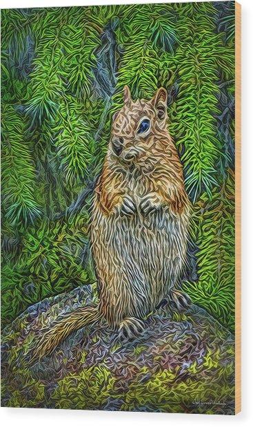 Vigilant Chipmunk Wood Print