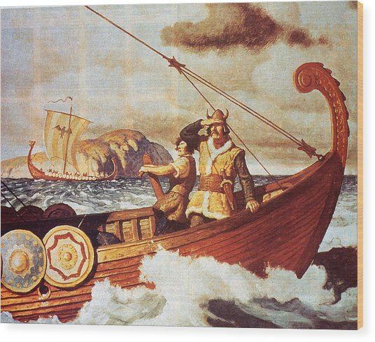 Viking Longship On The Water Wood Print by Hulton Archive