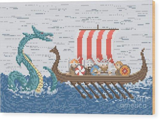 Vikings Battle With The Sea Dragon Wood Print
