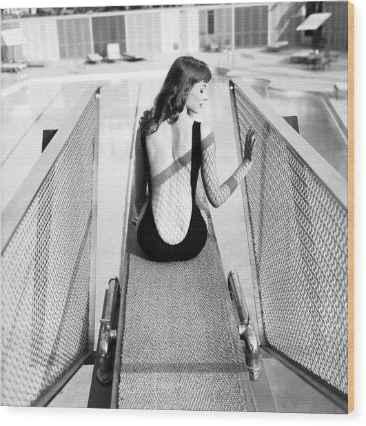 Vikki Dougan In Backless Swimwear Wood Print