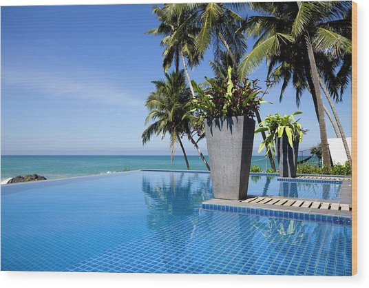 Villa Hotel Swimming Pool Sri Lanka Wood Print by Laughingmango