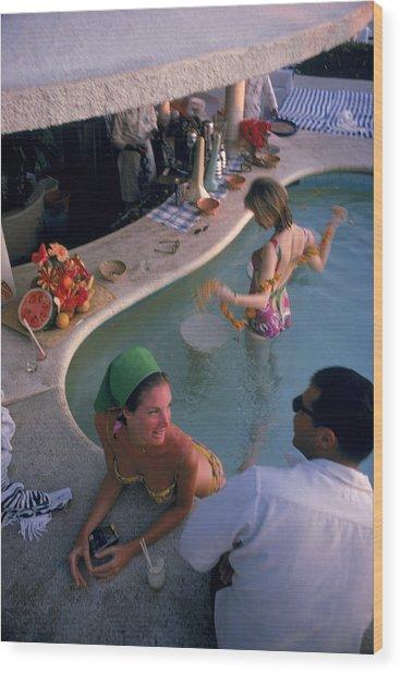Villa Vera Pool Bar Wood Print by Slim Aarons