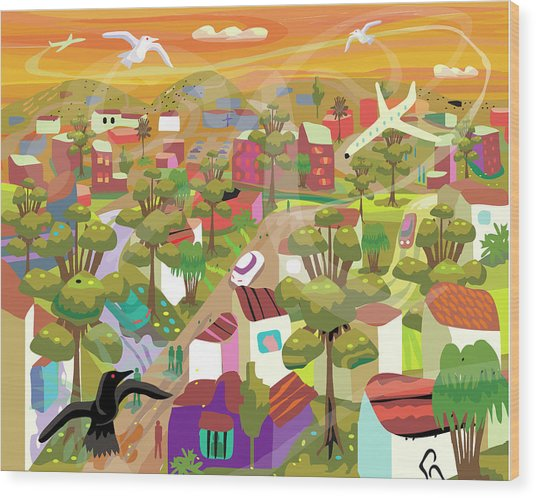 Village In Movement And Child Like Wood Print by Charles Harker