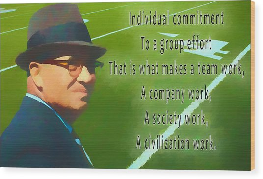 Vince Lombardi Quote Wood Print