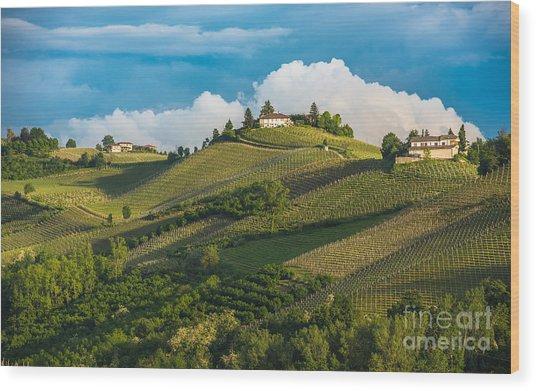 Vineyards Of Langhe, Piedmont, Unesco Wood Print