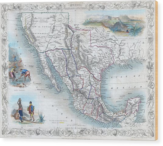Vingage Map Of Texas, California And Mexico Wood Print