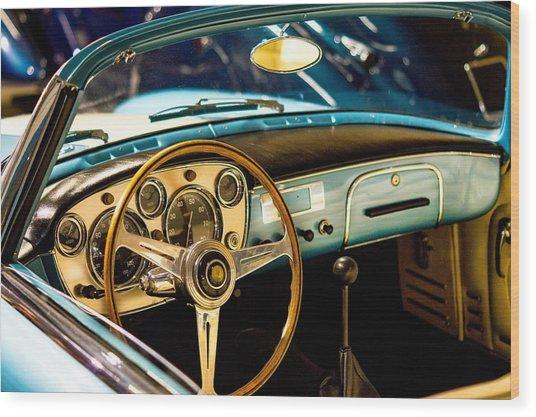 Vintage Blue Car Wood Print