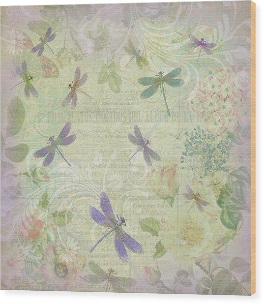 Vintage Botanical Illustrations And Dragonflies Wood Print