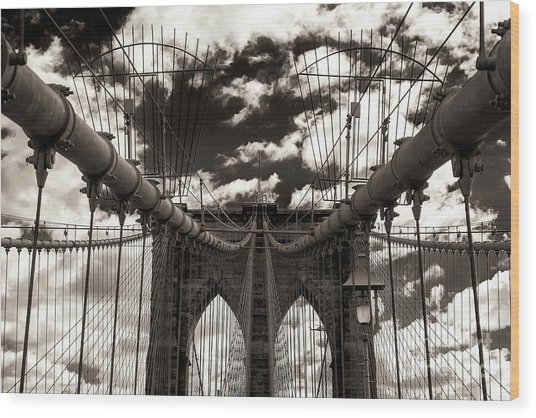 Vintage Brooklyn Bridge New York City Wood Print