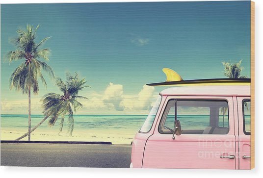 Vintage Car In The Beach With A Wood Print by Jakkapan