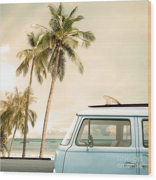 Vintage Car Parked On The Tropical Wood Print by Jakkapan