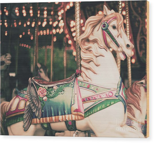 Vintage Carousel Horse Wood Print by Andrekart Photography