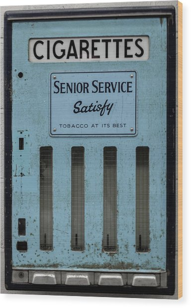 Senior Service Vintage Cigarette Vending Machine Wood Print