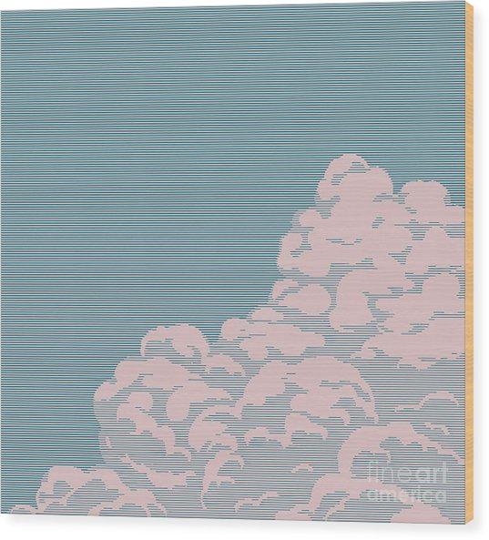 Vintage Engraving Cloud Wood Print