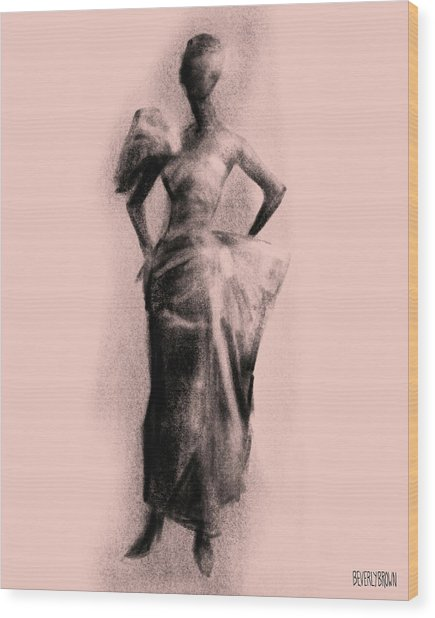Vintage Fashion Evening Gown Wood Print by Beverly Brown