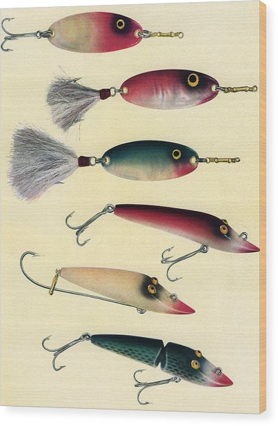 Vintage Fishing Lures Wood Print by Graphicaartis