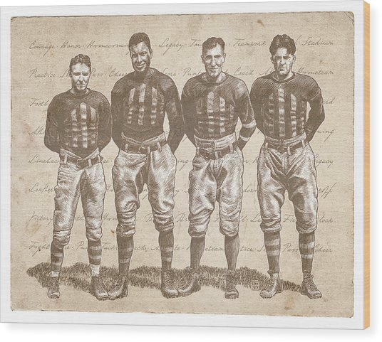 Wood Print featuring the drawing Vintage Football Heroes by Clint Hansen