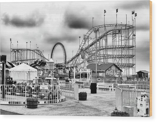 Vintage Funtown Pier Seaside Heights Wood Print