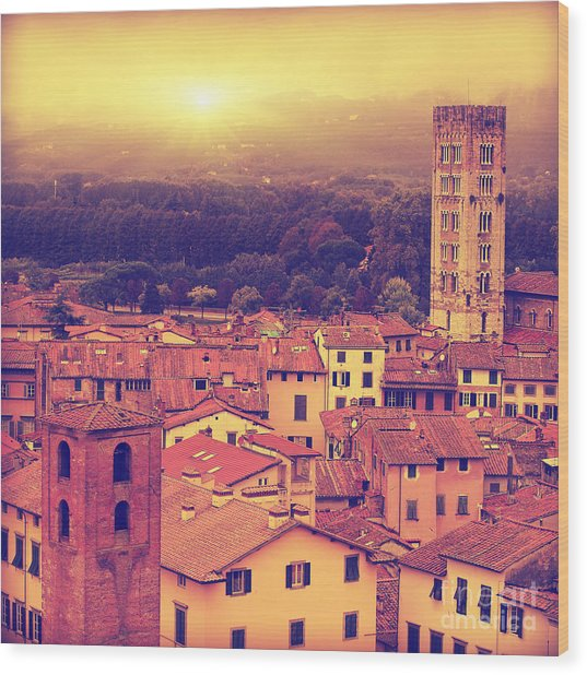 Vintage Image Of Lucca At Sunset, Old Wood Print